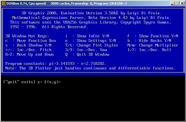 Graphix 3 running in DOSBox