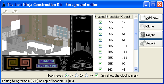 The Last Ninja Construction Toolkit: foreground editor by Luigi Di Fraia