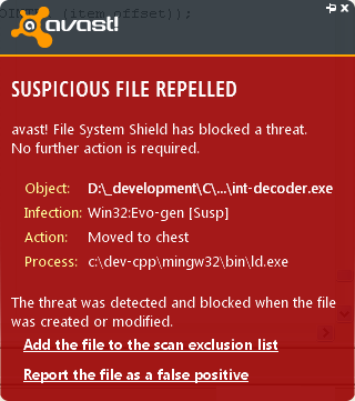 Avast is blocking Integrator 2012 straight off compilation by Luigi Di Fraia