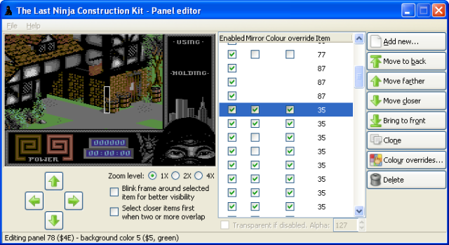 The Last Ninja Construction Kit: changes to Panel editor