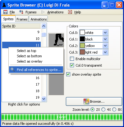 LN2 sprite/frame/animation browser: reference lookup