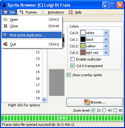 LN2 sprite/frame/animation browser: duplicate lookup