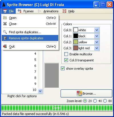 LN2 sprite/frame/animation browser: remove duplicates