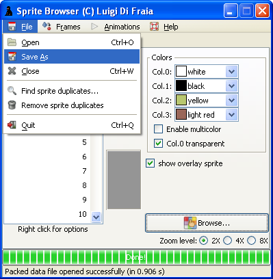 LN2 sprite/frame/animation browser: save sprites