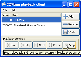C2NEmu playback client under Windows
