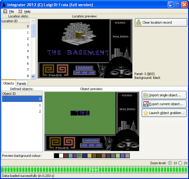 Load screen in Last Ninja 2, level 4, as seen in Integrator 2012