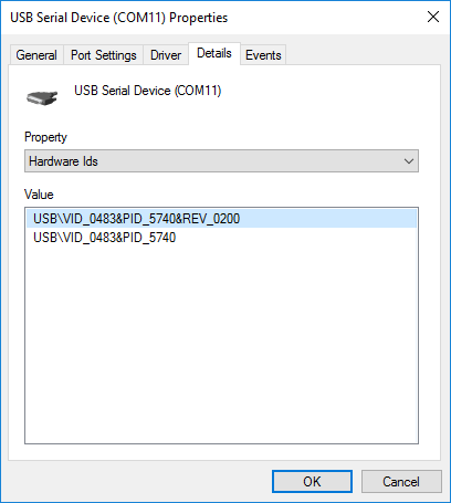 The USB device (VCP) eventually started working