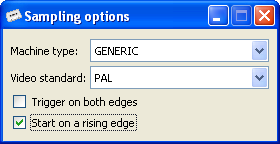 Sampling options dialog in DC2N4-LC GTK+ GUI client