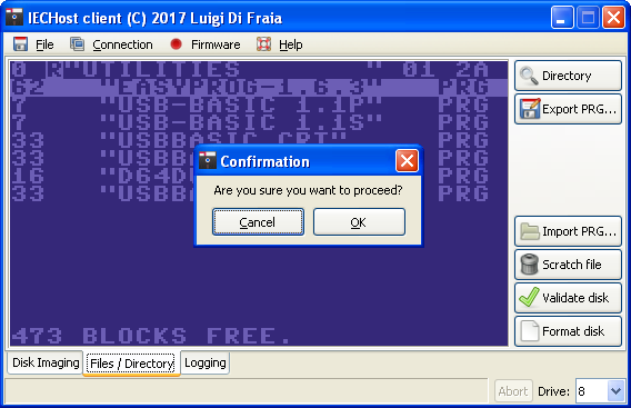 IECHost: user confirmation is necessary before disk contents are altered by Luigi Di Fraia