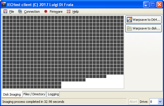 IECHost: just finihed saving a D64 image to a physical disk by Luigi Di Fraia