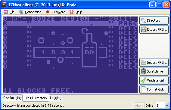 IECHost: Verifying the written disk image's directory listing by Luigi Di Fraia