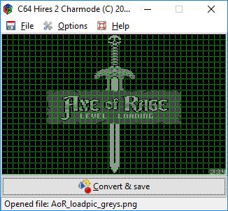 Same picture open in C64 Hires2Charmode by Luigi Di Fraia