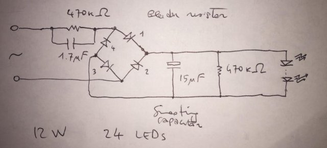 Schematics of my failed LED bulb by Luigi Di Fraia