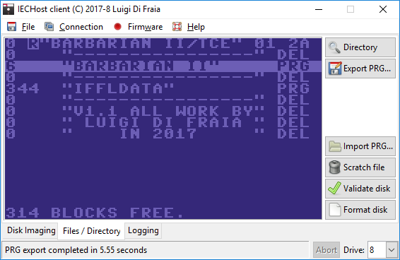 IECHost GUI client 2.0 running under Windows 10 by Luigi Di Fraia