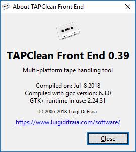 TAPClean FE Windows 10 - About dialog by Luigi Di Fraia
