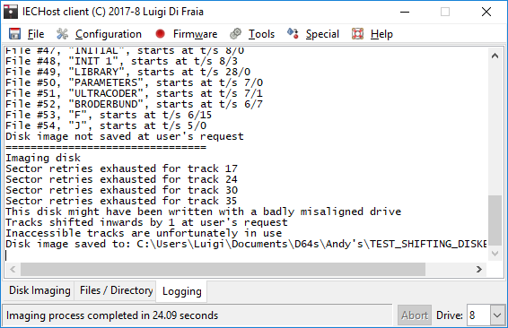 IECHost GUI client: disk with an inaccessible track 1 by Luigi Di Fraia