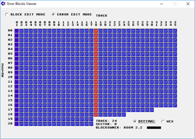D64 Editor: block error info for a disk with an inaccessible track 1 by Luigi Di Fraia