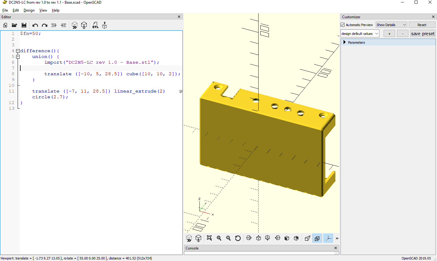 DC2N5-LC OpenSCAD snippet to adapt to PCB rev 1.1 by Luigi Di Fraia