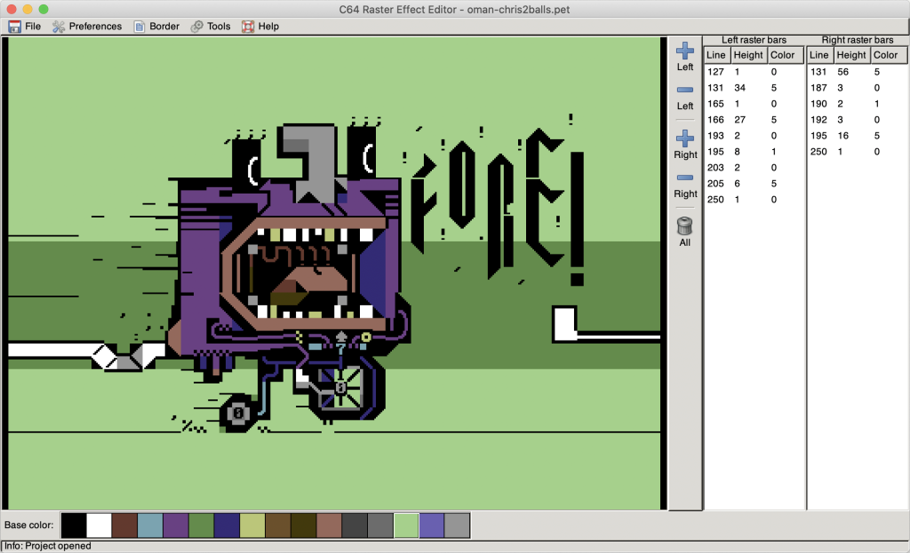 C64 Raster Effect Editor running on Mac OS X by Luigi Di Fraia