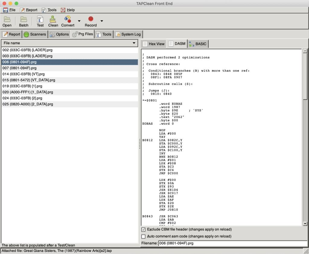 TAPClean Front End running on Mac OS X by Luigi Di Fraia