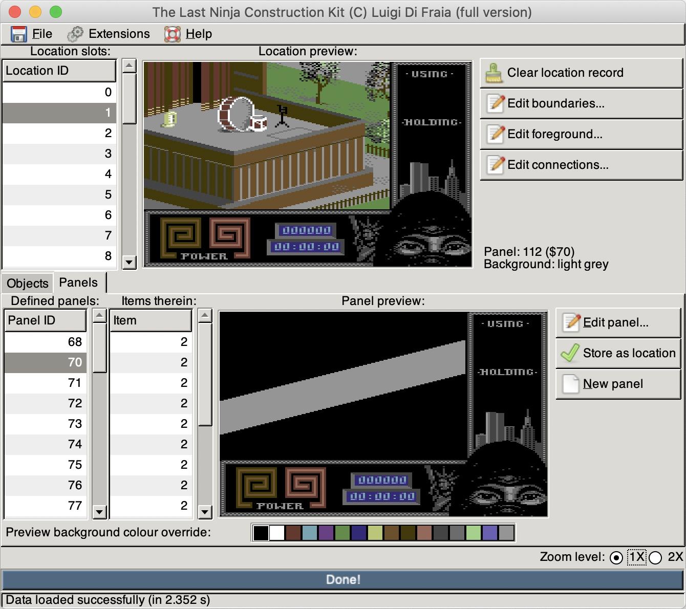 The Last Ninja Construction Kit running on Mac OS X by Luigi Di Fraia