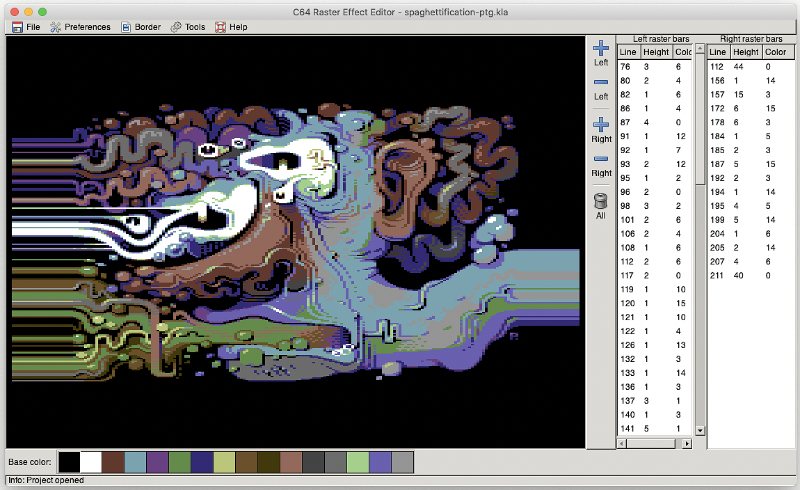 C64 Raster Effect Editor: experimental build for Mac OS X by Luigi Di Fraia